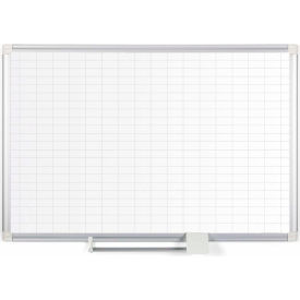"MasterVision Magnetic 1x2 Grid Planner, Steel Surface, 72""W x 48""H"