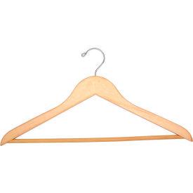 """18"""" Flat Wood Hanger for Men's Suit, Standard Hook, 100/Case"""