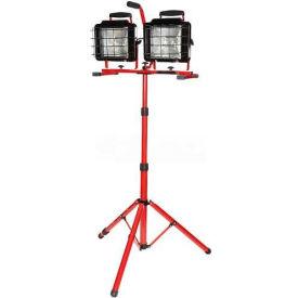 Bayco® Twin Head Convertible Tripod Tower Halogen Work Light SL-1082, 10'L Cord, 16/3 GA, Red