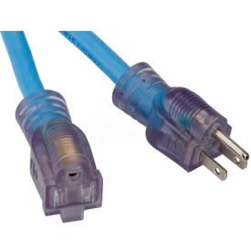 Bayco® Single-Tap All Season Cord W/Lighted End SL-998, 100'L Cord, 12/3 GA, Blue, 2-PK - Pkg Qty 2