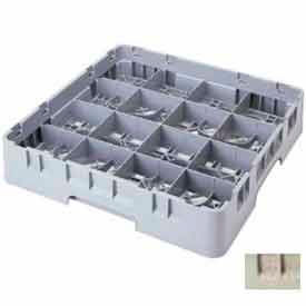"Cambro 16S318184 - Camrack  Glass Rack 16 Compartments 3-5/8"" Max. Height Beige NSF - Pkg Qty 5"