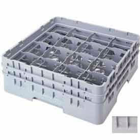 """Cambro 16S434151 - Camrack  Glass Rack 16 Compartments 5-1/4"""" Max. Height Soft Gray NSF - Pkg Qty 4"""