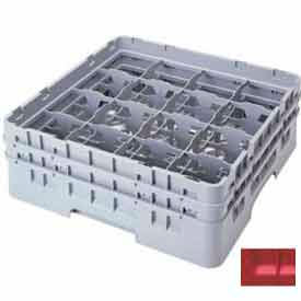 """Cambro 16S434163 - Camrack  Glass Rack 16 Compartments 5-1/4"""" Max. Height Red NSF - Pkg Qty 4"""