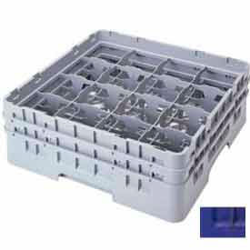 """Cambro 16S434186 - Camrack  Glass Rack 16 Compartments 5-1/4"""" Max. Height Navy Blue NSF - Pkg Qty 4"""
