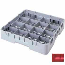 "Cambro 16S738163 - Camrack  Glass Rack 16 Compartments 7-3/4"" Max. Height Red NSF - Pkg Qty 3"