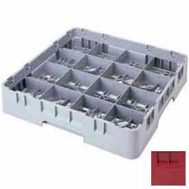 "Cambro 16S738416 - Camrack  Glass Rack 16 Compartments 7-3/4"" Max. Height Cranberry NSF - Pkg Qty 3"