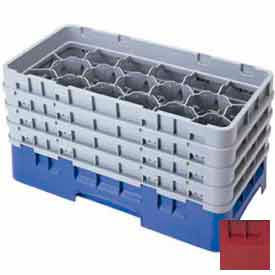 """Cambro 17HS638416 - Camrack  Glass Rack 17 Compartments 6-7/8"""" Max. Height Cranberry NSF - Pkg Qty 3"""