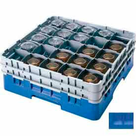 "Cambro 25S1058168 - Camrack  Glass Rack Low Profile 25 Compartments 11"" Max. Height Blue NSF - Pkg Qty 2"