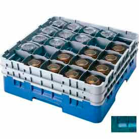 """Cambro 25S1214414 - Camrack  Glass Rack Low Profile 25 Compartments 12-5/8"""" Max. Height Teal - Pkg Qty 2"""