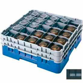 """Cambro 25S434110 - Camrack  Glass Rack 25 Compartments 5-1/4"""" Max. Height Black NSF - Pkg Qty 4"""