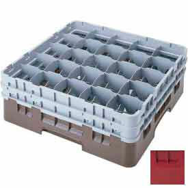 "Cambro 25S534416 - Camrack  Glass Rack Low Profile 25 Compartments 6-1/8"" Max. Ht. Cranberry - Pkg Qty 4"