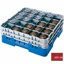 """Cambro 25S800163 - Camrack  Glass Rack 25 Compartments 8-1/2"""" Max. Height Red NSF - Pkg Qty 2"""