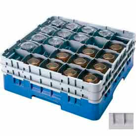 """Cambro 25S900151 - Camrack  Glass Rack Low Profile 25 Compartments 9-3/8"""" Max. Ht. Soft Gray - Pkg Qty 2"""