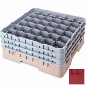 """Cambro 36S1214416 - Camrack  Glass Rack Low Profile 36 Compartments 12-5/8"""" Max. Height Cranberry - Pkg Qty 2"""