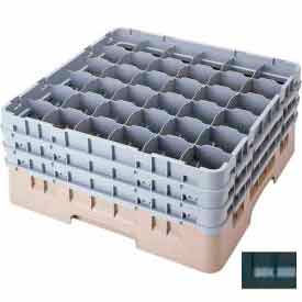 """Cambro 36S434110 - Camrack  Glass Rack Low Profile 36 Compartments 5-1/4"""" Max. Height Black - Pkg Qty 4"""