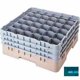 """Cambro 36S534414 - Camrack  Glass Rack Low Profile 36 Compartments 6-1/8"""" Max. Height Teal - Pkg Qty 4"""