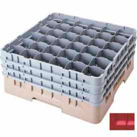 """Cambro 36S638163 - Camrack  Glass Rack 36 Compartments 6-7/8"""" Max. Height Red NSF - Pkg Qty 3"""