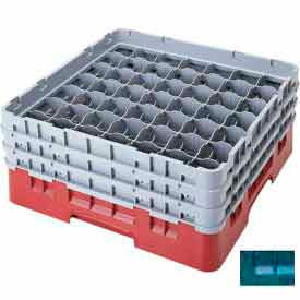 "Cambro 49S434414 - Camrack  Glass Rack 49 Compartments 5-1/4"" Max. Height, Teal, NSF - Pkg Qty 4"