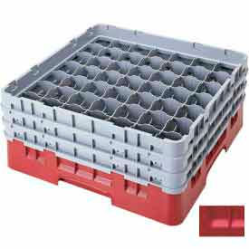 "Cambro 49S958163 - Camrack  Glass Rack 49 Compartments 10-1/8"" Max. Height, Red - Pkg Qty 2"