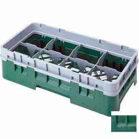 """Cambro 8HS638119 - Camrack  Glass Rack 8 Compartments 6-7/8"""" Max. Height Sherwood Green NSF - Pkg Qty 3"""
