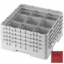 """Cambro 9S318416 - Camrack  Glass Rack 9 Compartments 3-5/8"""" Max. Height Cranberry NSF - Pkg Qty 5"""