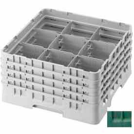 """Cambro 9S434119 - Camrack  Glass Rack 9 Compartments 5-1/4"""" Max. Height Sherwood Green NSF - Pkg Qty 4"""