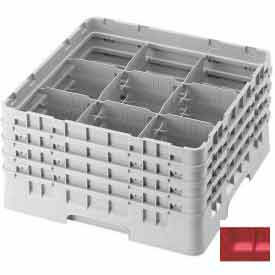 """Cambro 9S434163 - Camrack  Glass Rack 9 Compartments 5-1/4"""" Max. Height Red NSF - Pkg Qty 4"""