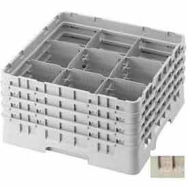 "Cambro 9S434184 - Camrack  Glass Rack 9 Compartments 5-1/4"" Max. Height Beige NSF - Pkg Qty 4"