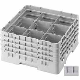 """Cambro 9S958151 - Camrack  Glass Rack 9 Compartments 10-1/8"""" Max. Height Soft Gray NSF - Pkg Qty 2"""