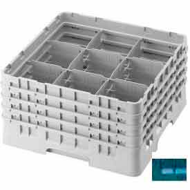 "Cambro 9S958414 - Camrack  Glass Rack 9 Compartments 10-1/8"" Max. Height Teal NSF - Pkg Qty 2"
