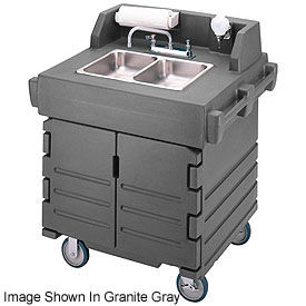 Cambro KSC402426 - Camkiosk Hand Sink Cart,  Black with Granite Green Top & Doors