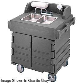 Cambro KSC402426 Camkiosk Hand Sink Cart, Black with Granite Green Top & Doors by