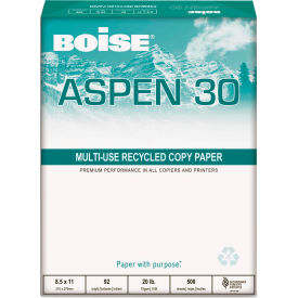 """Boise® ASPEN 0.3 Recycled Office Paper 054901P, 3-Hole, 8-1/2"""" x 11"""", White, 10 Reams/Carton"""