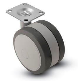 Shepherd® Swivel Top Plate Soft Tread Caster - 100mm Dia. Gray