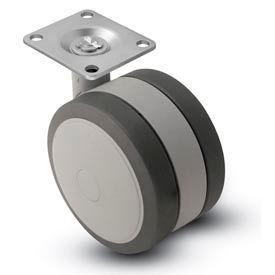 Shepherd® Swivel Top Plate Soft Tread Caster - 60mm Dia. Gray