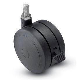 Threaded Stem Soft Tread Caster with Brake - 60mm Dia. 3/8-16 x 3/4 Stem Black