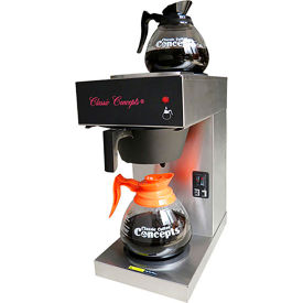 Classic Coffee Concepts GB260 - Coffee Brewer, Pour-Over, 2 Warmers, Stainless Steel, W/ 2 Decanters
