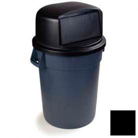 Bronco™ Round Waste Container Dome Lid With Hinged Door 32 Gallon - Black
