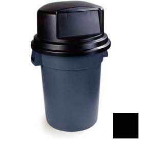 Bronco™ Round Waste Container Dome Lid With Hinged Door for 44 & 55 Gallon  - Black