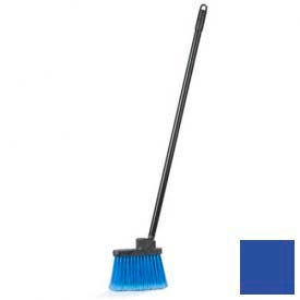 "Duo-Sweep® Wide Duo-Sweep Flagged Lobby Broom w/35"" Black Metal Threaded Handle-Blue - Pkg Qty 12"