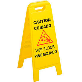 "Wet Floor Sign (English/Spanish) 25"" - Yellow - Pkg Qty 6"