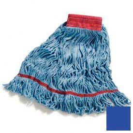 Flo-Pac® Large Looped-End Mop With Red Band - Blue - Pkg Qty 12