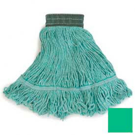Flo-Pac® Medium Looped-End Mop With Green Band - Green - Pkg Qty 12
