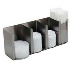 "Carlisle 388804L - Lid/Straw Dispenser, Countertop, 4 Station, 16"" x 4-1/2"" x 6-5/8"""