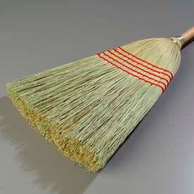 """5-Stitch Janitor Broom 100% Corn #26 Fill 56"""" - Pkg Qty 6"""