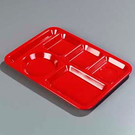 Carlisle 4398005 - Left-Hand Heavy Weight 6-Compartment Tray, Red - Pkg Qty 12
