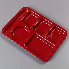 Carlisle 4398085 - Left-Hand Heavy Weight 6-Compartment Tray, Dark Cranberry - Pkg Qty 12
