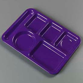 Carlisle 4398087 - Left-Hand Heavy Weight 6-Compartment Tray, Purple - Pkg Qty 12