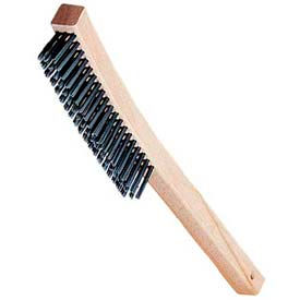 "13-3/4""Steel Wire Brush With 3 X 19 Rows Of Carbon Steel Bristles - Pkg Qty 12"