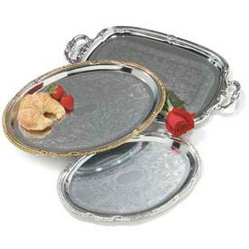 "Carlisle 608904 - Celebration™ Oval Tray W/ Ornate Border 17-7/16"" x 12-7/8"" - Pkg Qty 12"
